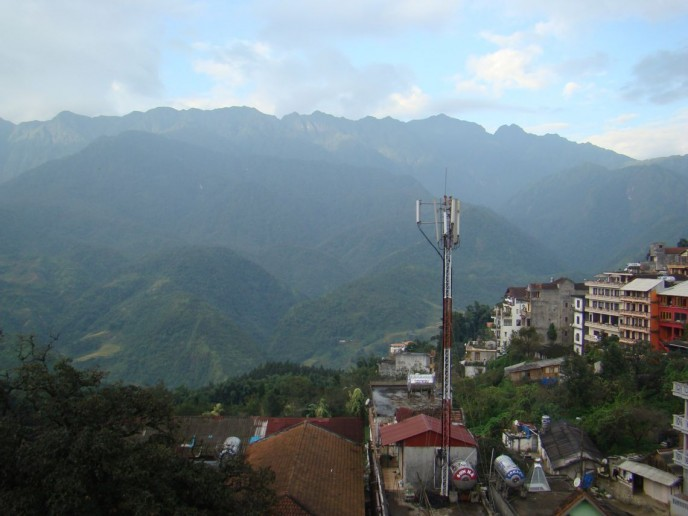 Looking to the peak of Fan Xi Phan from the hill station of SaPa, Vietnam.