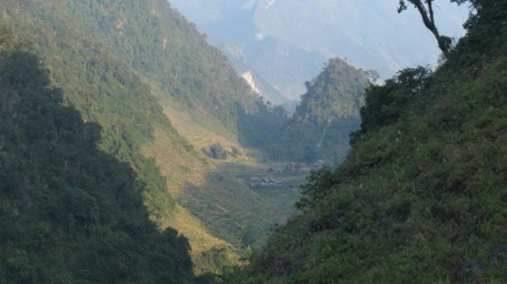 Looking north to the Chinese frontier from our trekking route.