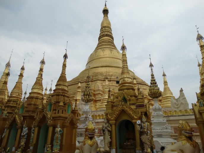 The ancient and ornate Shwegon Temple, Yangoon.