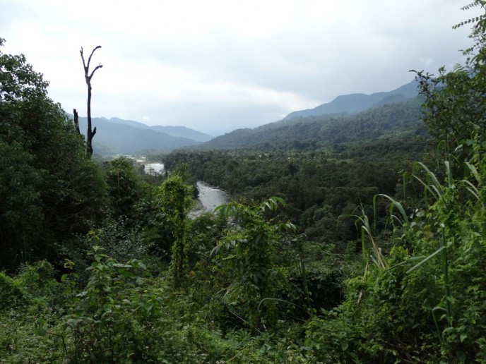 Our route along a minor tributary of the Irrawaddy; Wasadam far in the distance.