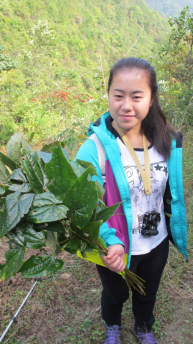 Young woman holding a plant clipping.