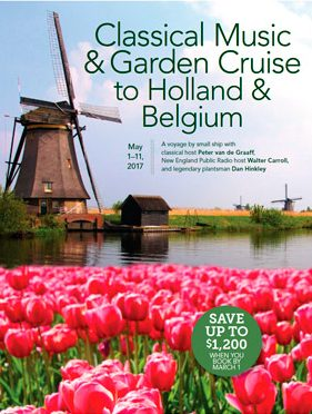 Tulips and windmill on cover of Classical Music & Garden Cruise to Holland & Belgium brochure.